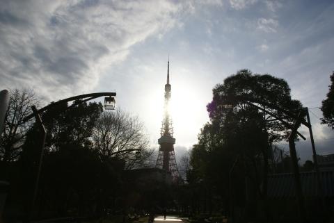 太陽を背負う東京タワー