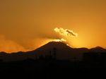 日が隠れた後、富士山のシルエットが美しい