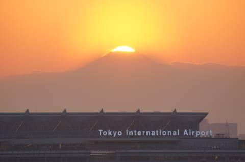 太陽が富士山の山頂部におさまりました