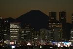 暗くなった空の下。都会の明かりにひっそりと成りを潜めようとする富士山