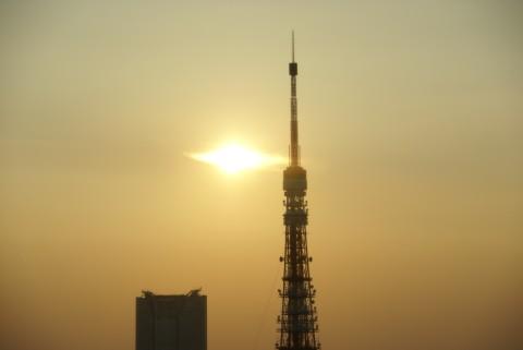 東京タワーと夕陽