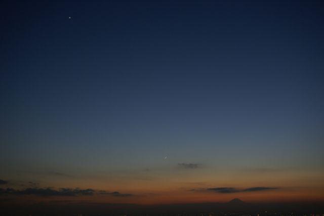富士山に従う星たち