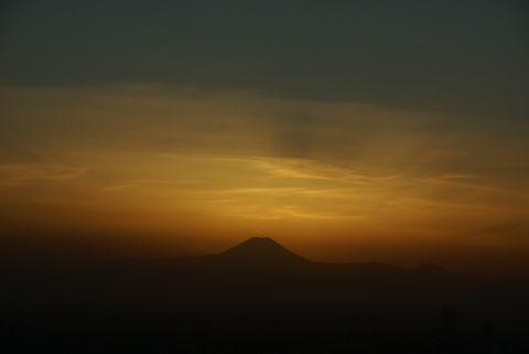 後光差す富士山