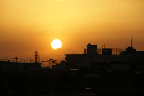 富士山にかかった夕日