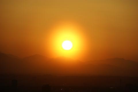 見事な夕日