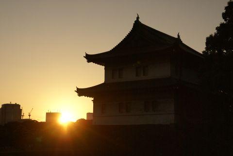 金色の夕日
