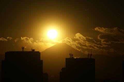 富士山目前の夕日