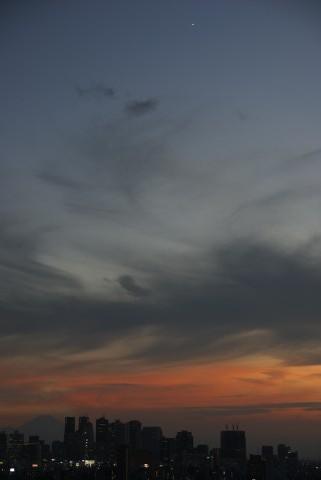 富士山上空の金星