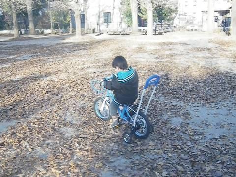 自転車に乗る悠真