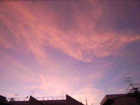 赤く染まる空