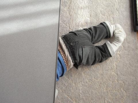 テーブルの下でかくれんぼ